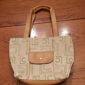 Liz Claiborne green & cream purse